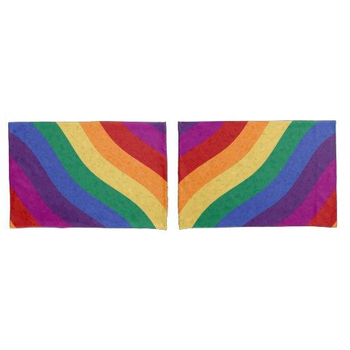 Rainbow Colored Wavy Lines Pillow Case Zazzle