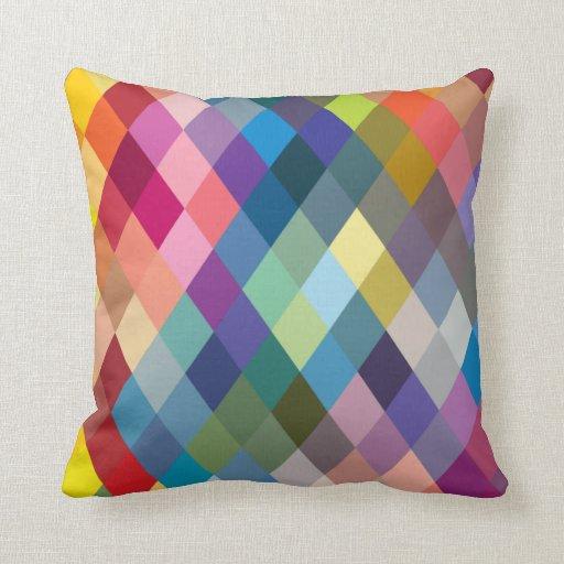 Rainbow Colorful Geometric Pillow Zazzle