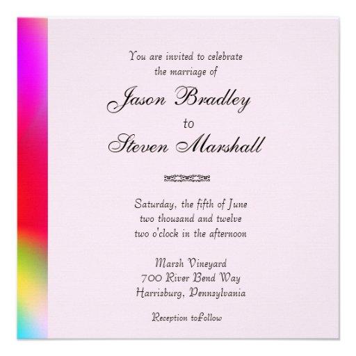 "Rainbow Colors Gay Wedding Invitation 5.25"" Square"