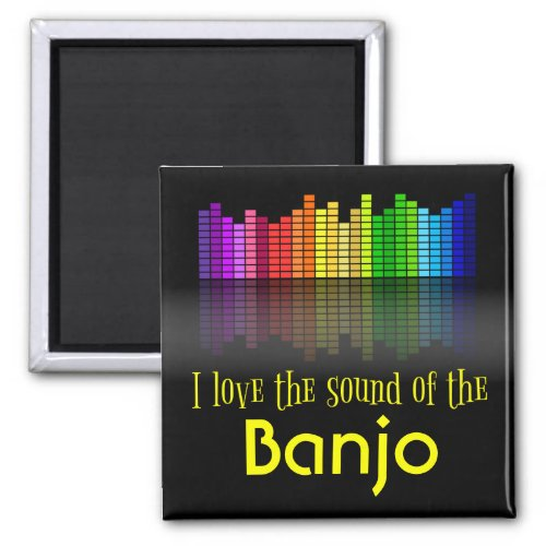 Rainbow Digital Sound Equalizer Banjo 2-inch Square Magnet