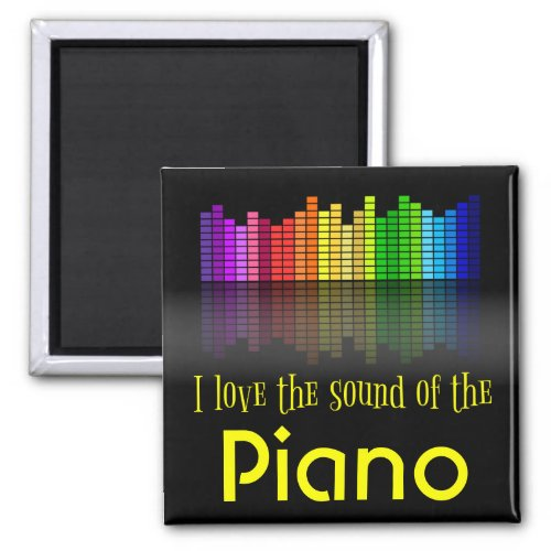 Rainbow Digital Sound Equalizer Piano 2-inch Square Magnet