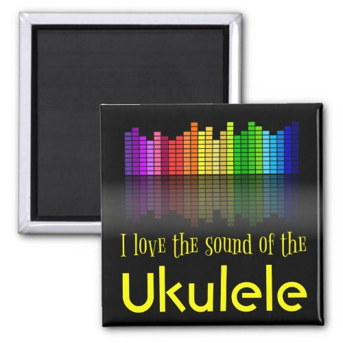 Rainbow Digital Sound Equalizer Ukulele 2-inch Square Magnet