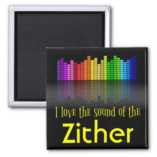 Rainbow Digital Sound Equalizer Zither 2-inch Square Magnet