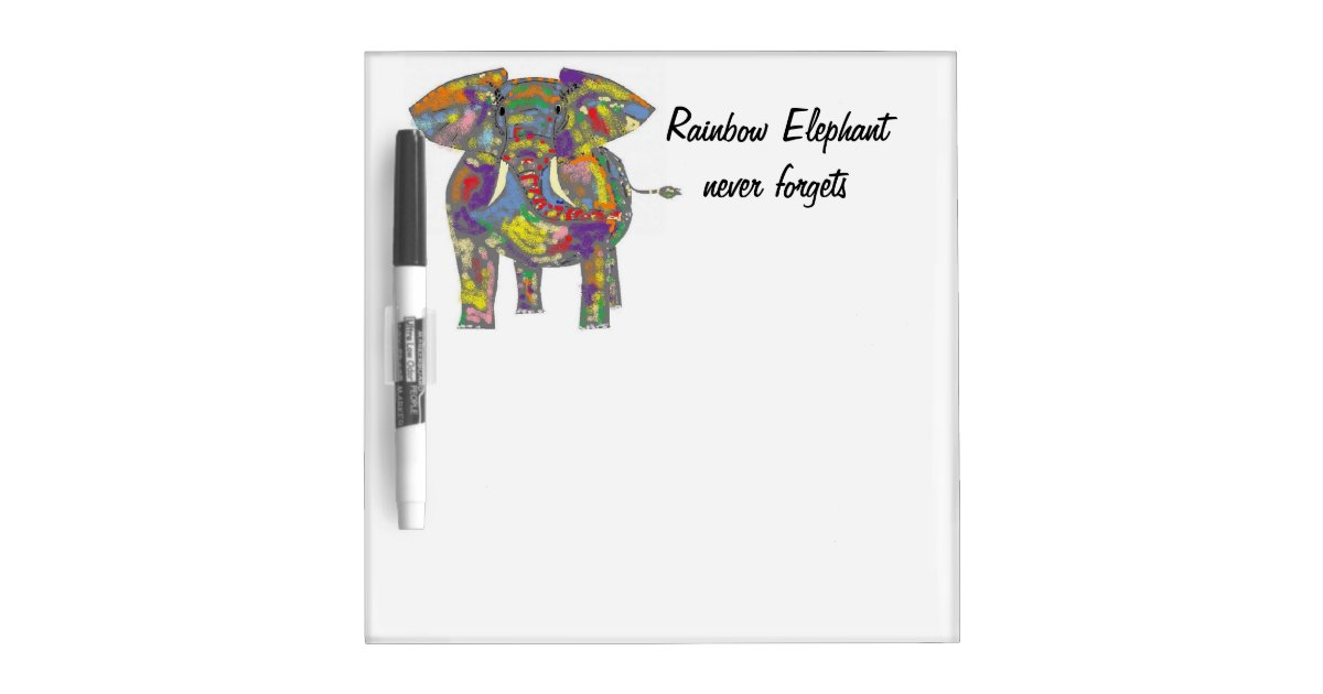 rainbow elephant never forgets dry erase board zazzle. Black Bedroom Furniture Sets. Home Design Ideas
