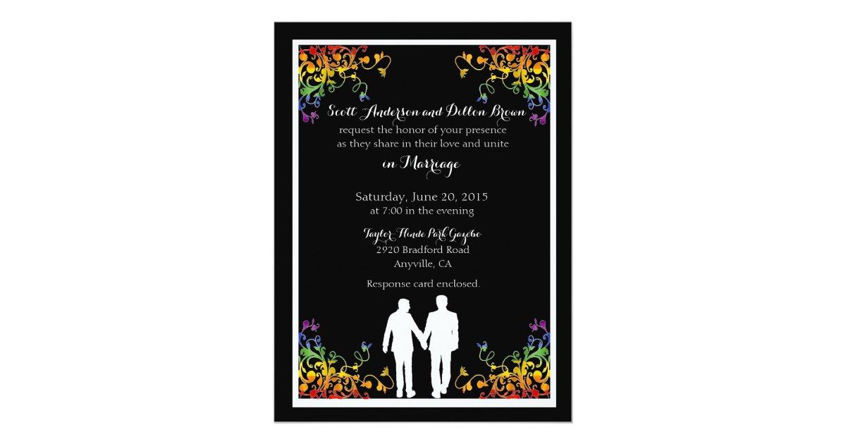 Gay Marriage Wedding Invitations: Rainbow Flourishes Gay Wedding Invitations