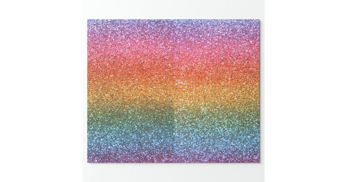 Rainbow Glitter Wrapping Paper Zazzle
