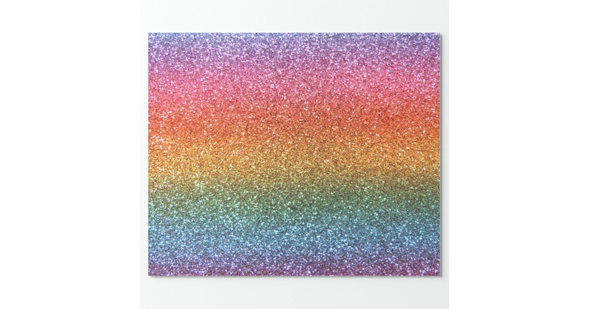 Rainbow Glitter Wrapping Paper Zazzle