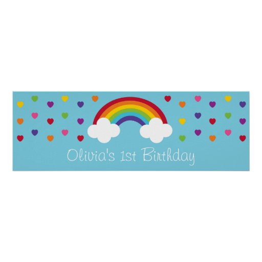 Rainbow Hearts Birthday Banner Poster