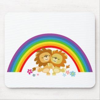 Rainbow Tango-Cute Cartoon Lions Mousepad mousepad