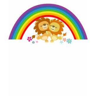 Rainbow Tango-Cute Cartoon Lions Women T-Shirt shirt
