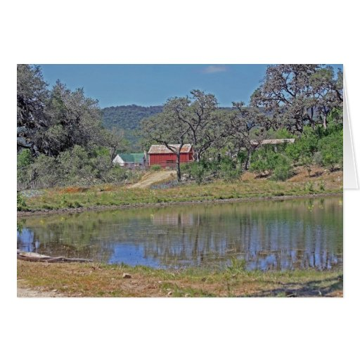 Texas Hill Country Home: Ranch Home And Barn In Texas HIll Country Greeting Card