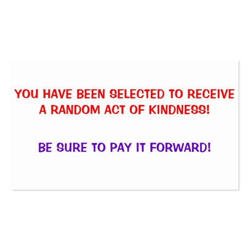 Random Act of Kindness, Pay it forward Cards Double-Sided ...