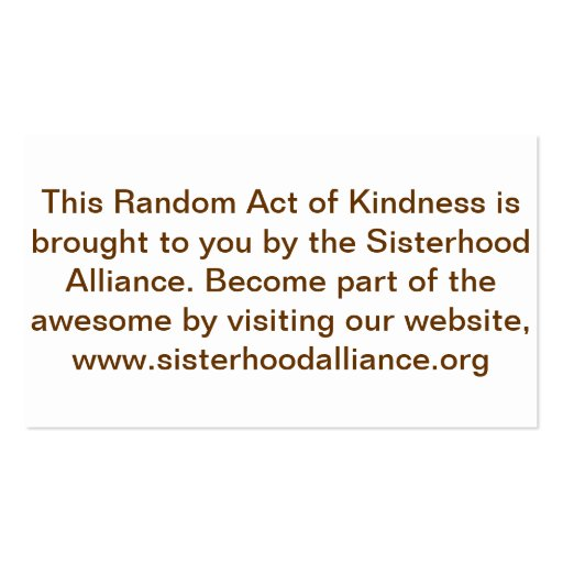 Random Act of Kindness Project Small Cards Business Card ...