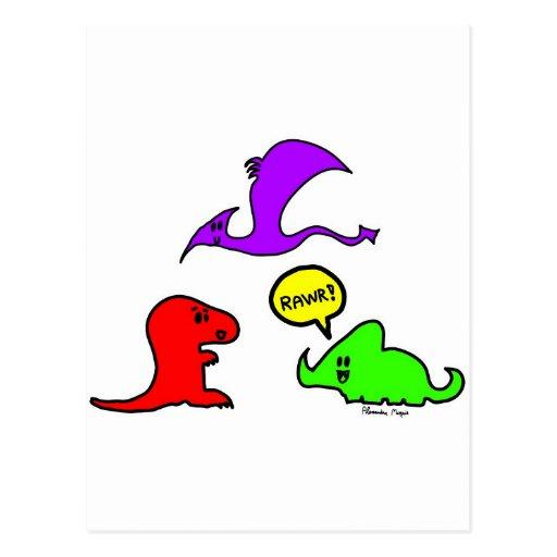 Rawr! Cute Dinosaurs Chibi Babies Dinos Postcard   Zazzle