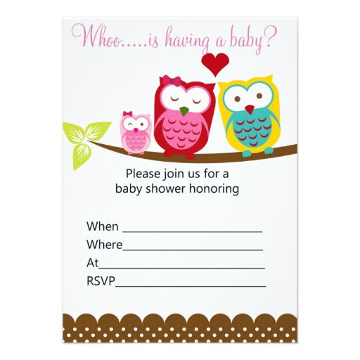 """Blank Owl Baby Shower Invitations: Ready To Fill Owls On Branch Baby Shower Invitatio 4.5"""" X"""