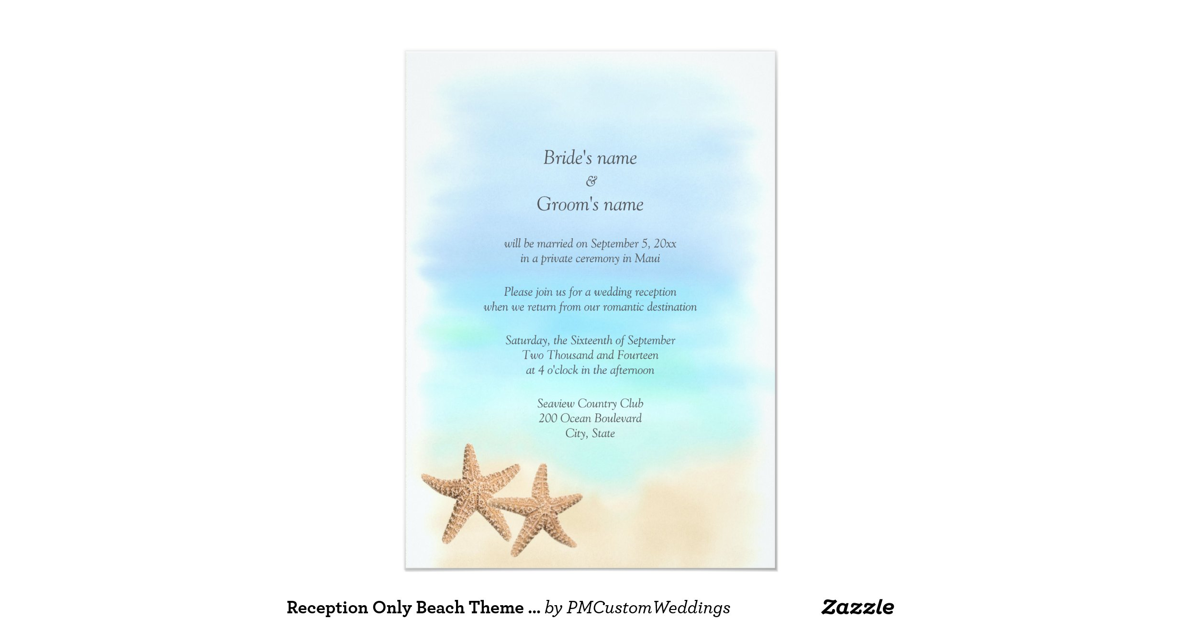 Beach Theme Wedding Invitation: Reception_only_beach_theme_wedding_invitations