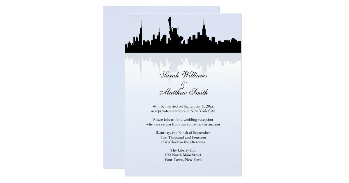 Reception Only Wedding Invitations: Reception Only New York Skyline Wedding Invitation