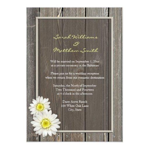 Wedding Reception Only Invitations: Reception Only Rustic Daisy Wedding Invitations