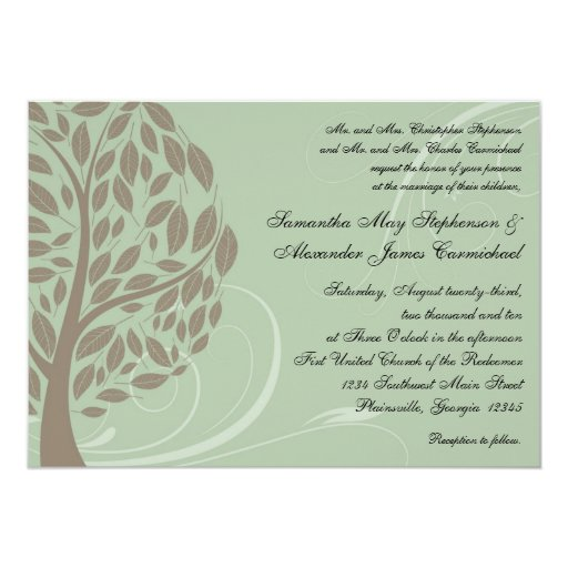 Recycled Wedding Invitations: Recycled Paper Green Eco Tree Wedding Invitations