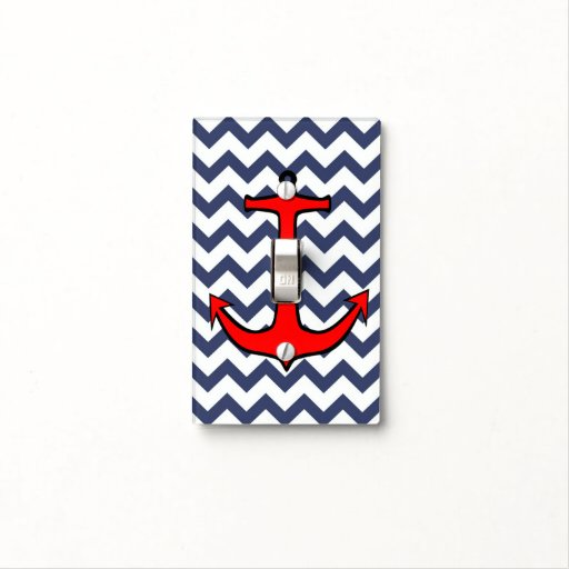 Red Anchor On Blue And White Chevron Light Switch Covers
