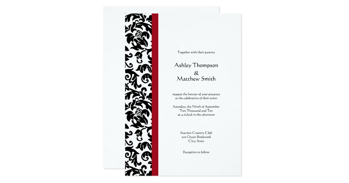 Wedding Invitations Red And Black: Red And Black Damask Wedding Invitations