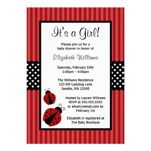 Red And Black Ladybug Striped Dots Baby Shower 5x7 Paper