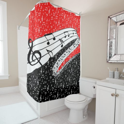 Red And Black Music Theme Shower Curtain Zazzle