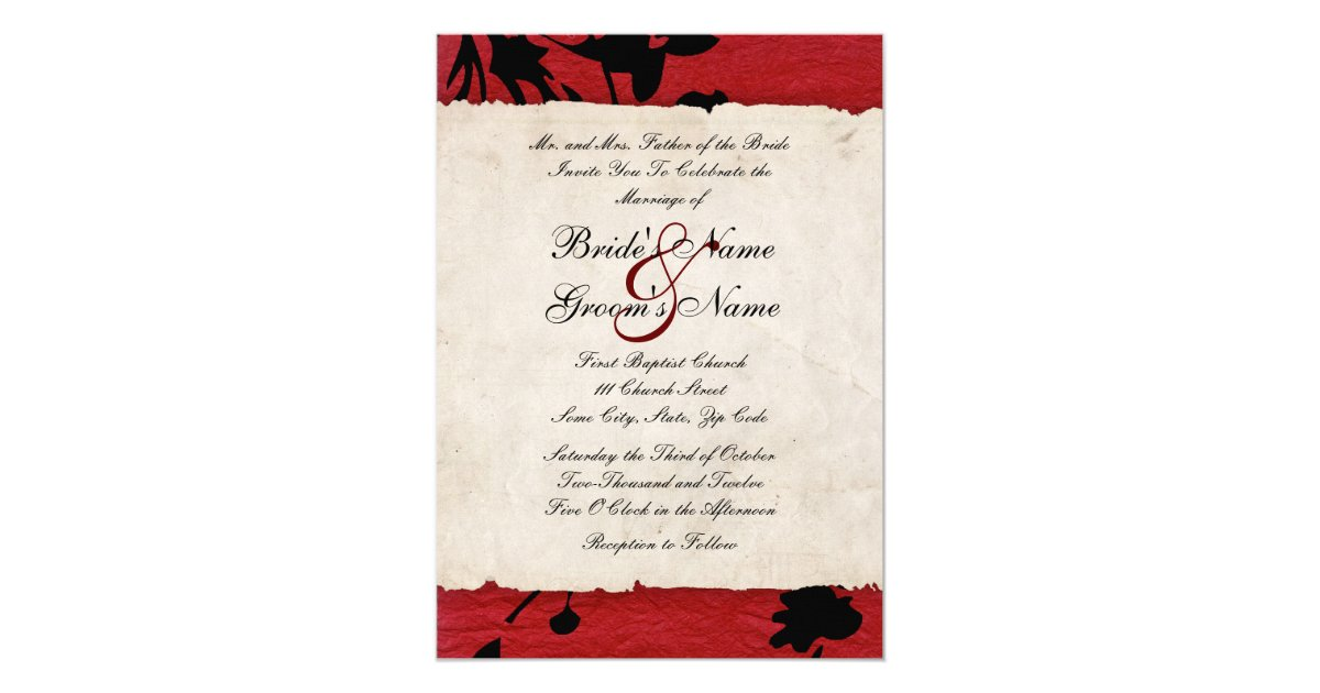 Wedding Invitations Red And Black: Red And Black Torn Paper Wedding Invitation