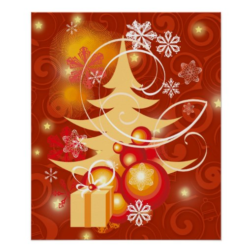 Red And Gold Christmas Trees: Red And Gold Christmas Tree Poster