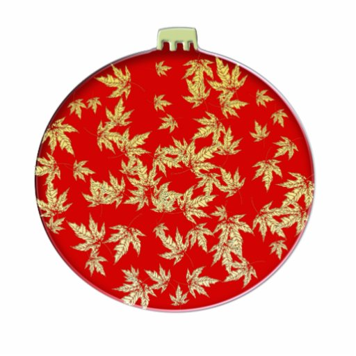 Red and Gold Leaf Christmas Ornament Cut Outs   Zazzle
