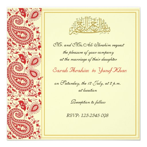 Red And Gold Muslim Wedding Invitation Card Ssc10r: 204+ Muslim Wedding Invitations, Muslim Wedding
