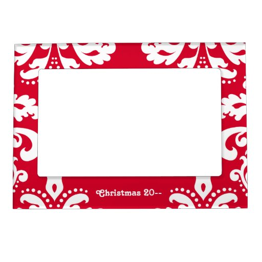 Red and white elegant Christmas damask Magnetic Photo ...