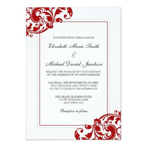 red and white flourish swirls wedding card  zazzle