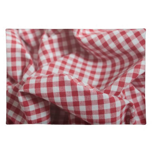 Checkered Mat: Red And White Gingham Checkered Cloth Place Mats