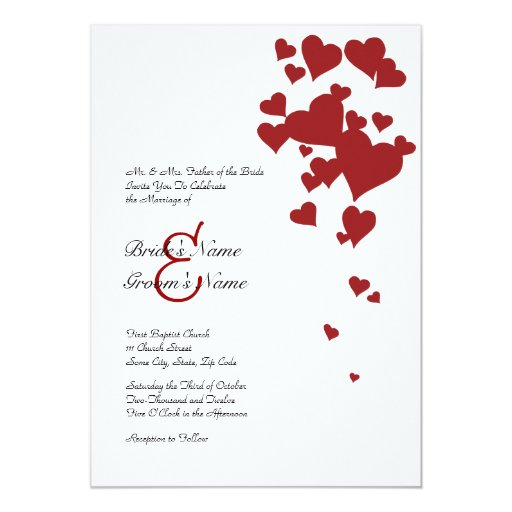 Red and White Hearts Wedding Invitation | ZazzleRed And White Wedding Invitations