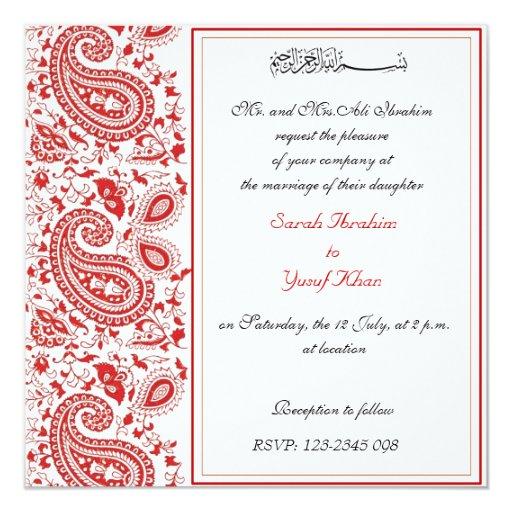 Muslim Wedding Invitation Wording: Red And White Muslim Wedding Card