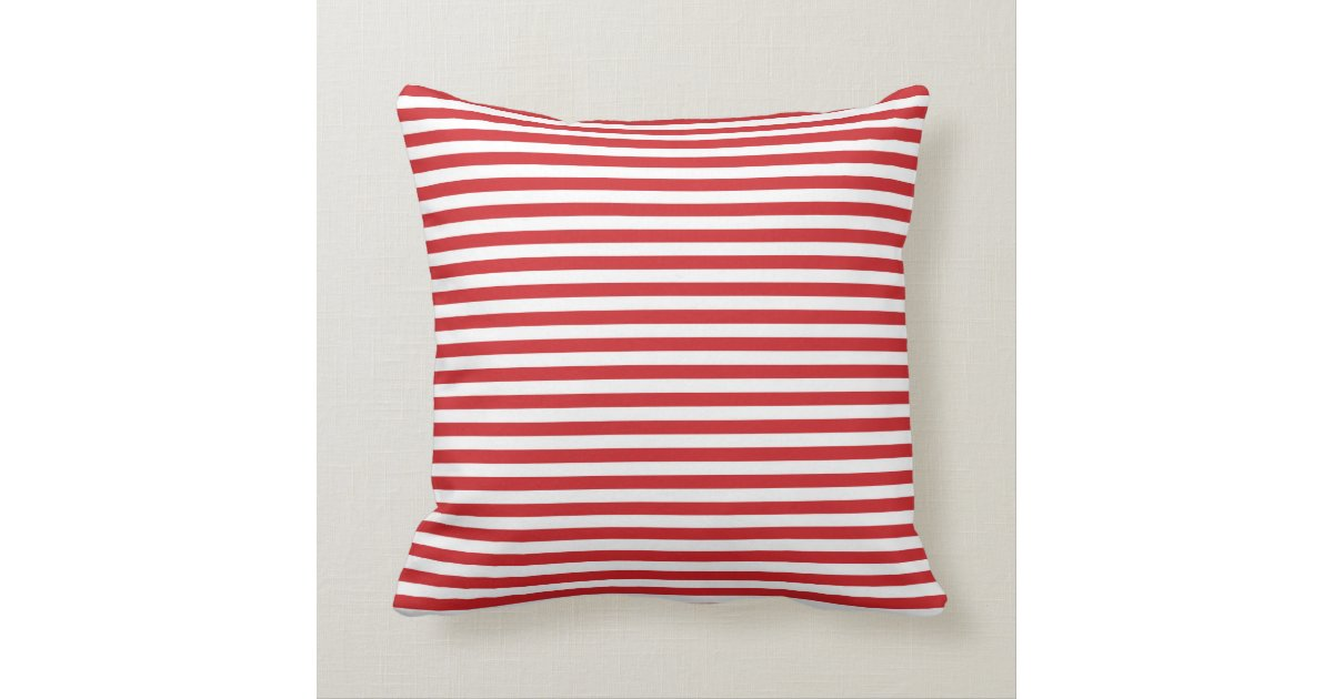 Red And White Couch Pillows: Red And White Nautical Stripes Throw Pillow