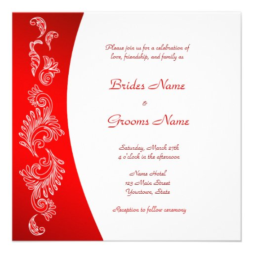 "Red and White pattern Wedding Invitation 5.25"" Square ...Red And White Wedding Invitations"