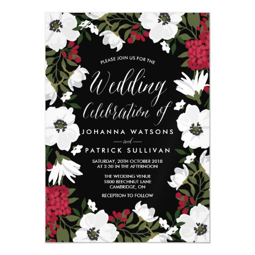 Red Anemone Blooms Magnetic Wedding Invitation