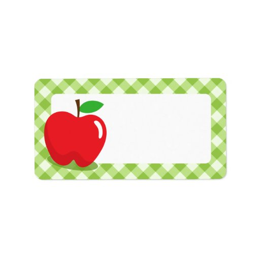 Red apple green gingham pattern border blank label | Zazzle