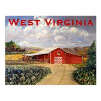 Red Barn West Virginia Farm Fine Art Painting Postcard