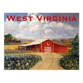 Red Barn West Virginia Farm Fine Art Painting Postcard