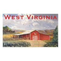 Red Barn West Virginia Farm Fine Art Painting Rectangular Sticker