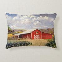 West Virginia Red Barn Farm Pillow Accent Pillow