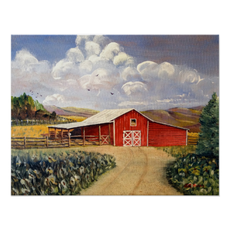 Red Barn West Virginia Farm Poster