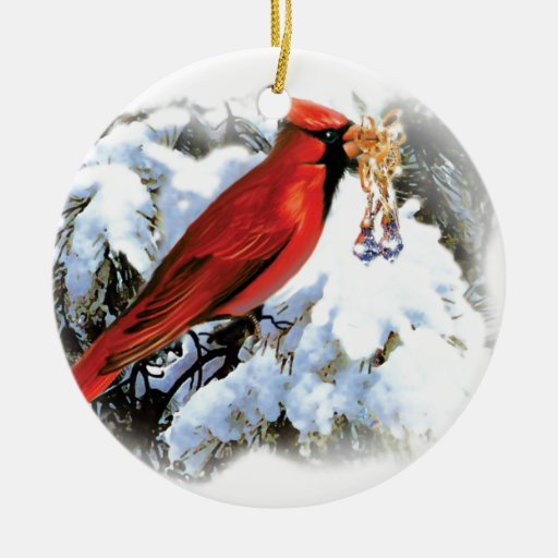 red bird in snow Double-Sided ceramic round christmas ...