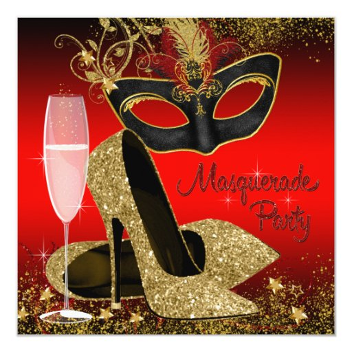 Red Black And Gold Masquerade Birthday Party Card Zazzle