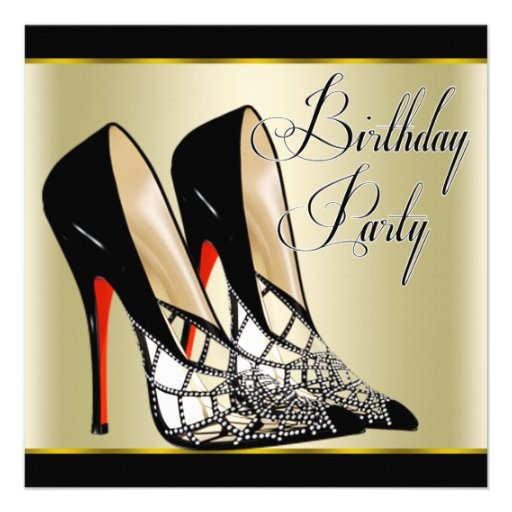 Red Black Gold High Heels Birthday Party Personalized Invitation