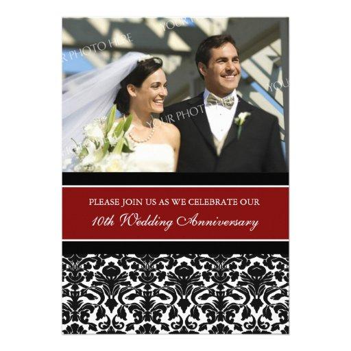 "10th Wedding Anniversary Invitations: Red Black Photo 10th Anniversary Party Invitation 5"" X 7"