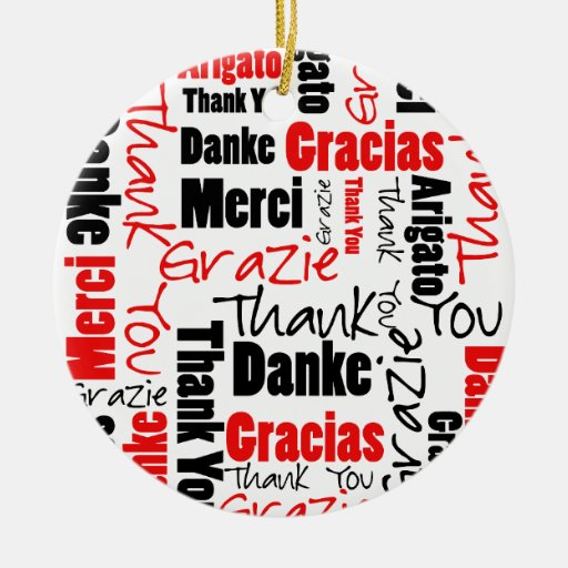 Red Black Thank You Word Cloud Christmas Ornaments   Zazzle